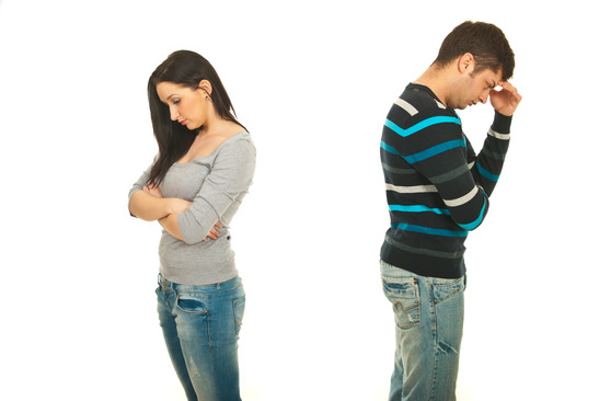 Sad couple having conflict isolated onw hite background