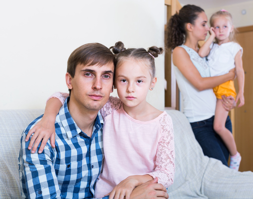 Adult parents going through divorce and thinking about kids future